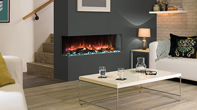 A multi-sided electric fireplace that can be installed in a three sided bay, left corner or right corner orientation.