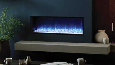 A 1100mm single-sided built in electric fireplace which features Chromalight Immersive LED technology and an assortment of fuel effects.