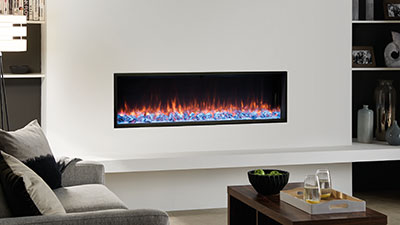 A 1400mm single-sided built in electric fireplace which features Chromalight Immersive LED technology and an assortment of fuel effects.