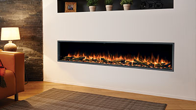 A 2000mm single-sided built in electric fireplace which features Chromalight Immersive LED technology and an assortment of fuel effects.