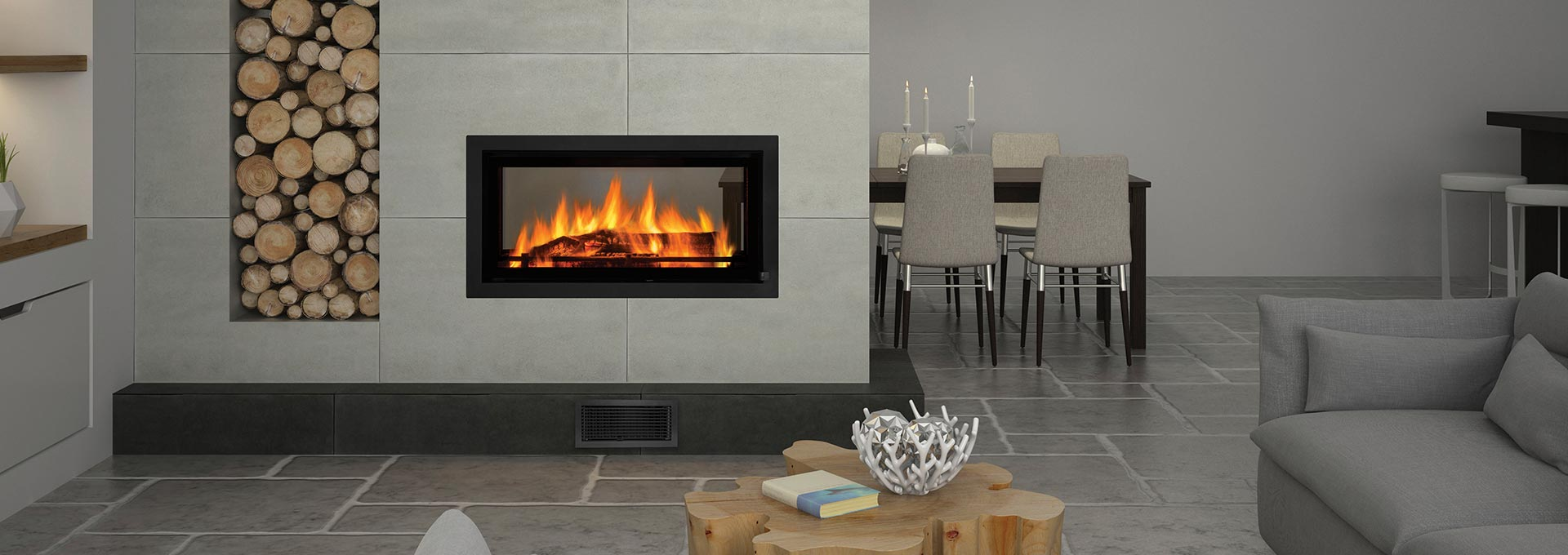 See Through Wood Fireplace - Regency Mansfield