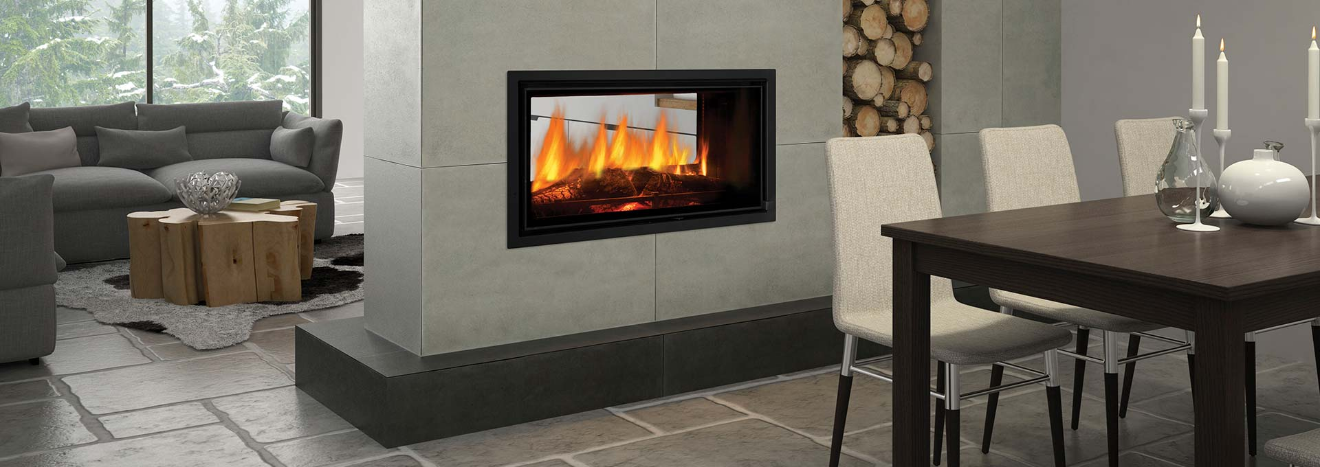 mansfield modern see through wood fireplace wood burning
