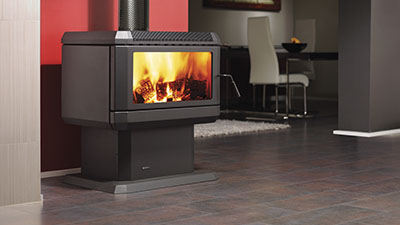 Hume wood freestanding fire